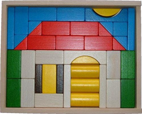 baukasten haus klein 41 teile holzspielzeug. Black Bedroom Furniture Sets. Home Design Ideas