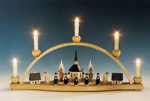 seiffener kirche mit laternenkindern elektrisch beleuchtet traditionell erzgebirge. Black Bedroom Furniture Sets. Home Design Ideas